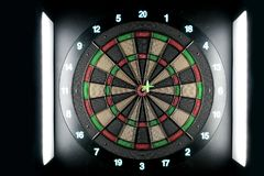 Dart pin on board bullseye. Achievement and success concept. Stock Images