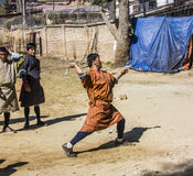 Dart player in bhutan Stock Image