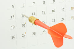 Dart stick on calendar Royalty Free Stock Photo