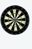 Dart strikes the bulls eye of a dartboard Stock Photos