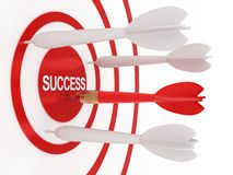 Dart and success. Abstract dart success (done in 3d, isolated vector illustration