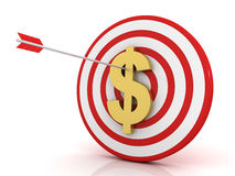 Dart of success with dollar Stock Photography