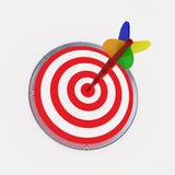 Dart on target. Colorful dart on target-3d rendered image Royalty Free Stock Images