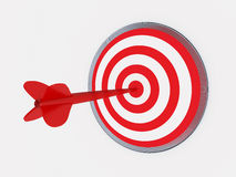 Dart on target. 3d illustration of a red dart on target Stock Image