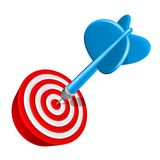 Dart on target. Dart perfect Aim  on target success isolated on white Royalty Free Stock Photos