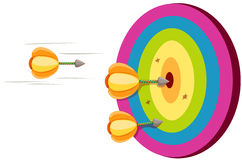 Dart on target. Illustration of isolated a dart on colorful target on white Royalty Free Stock Image