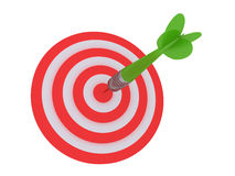 Dart and target. Conceptual image of dart hitting the target. Image isolated on a white back ground Stock Image