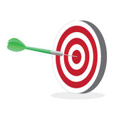 Dart on Target. Illustration of a dart hitting a target isolated on a white background stock illustration