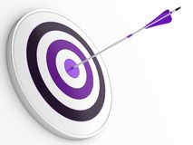 Dart and target. 3D illustration of purple arrow hitting targets bullseye Royalty Free Stock Photos