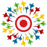 Dart on target Stock Photos