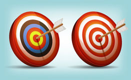 Dart Target With Arrow. Illustration of a set of cartoon red and white dart targets with arrow royalty free illustration