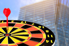 Dart target board, with building in urban. Stock Photography