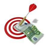 Dart hitting the money Stock Photo
