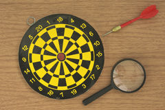 Dart, target, and Magnifier Royalty Free Stock Image