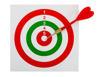 Dart and target, red, white, green - isolated Royalty Free Stock Images