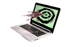 Dart to monitor. Laptop with an fun graphic arrow going towards it Royalty Free Stock Photo