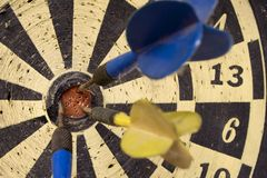 Dartboard � Front View on Bulls Eye Royalty Free Stock Photography