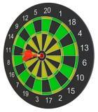 Dartboard при стрелка дротика ударяя центр Стоковое Фото