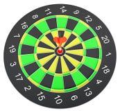 Dartboard при стрелка дротика ударяя центр Стоковое Изображение RF