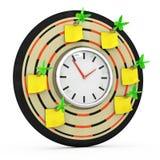 Dartboard с часами и липкими примечаниями Иллюстрация вектора