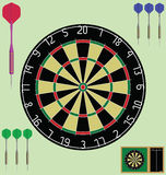 Dartboard. With case and darts individually layered Royalty Free Stock Image