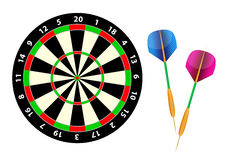 Dartboard. Darts and dartboard isolated on the white Royalty Free Stock Photo