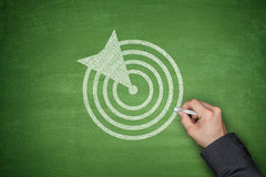 Dartboard on blackboard. Dartboard and arrow on green blackboard with hand Stock Images