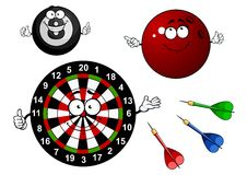Dartboard, bowling and billiard sport items Stock Photos