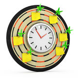 Dartboard with clock and sticky notes Stock Image