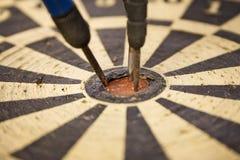 Dartboard – Close Up On Bulls Eye Royalty Free Stock Photo