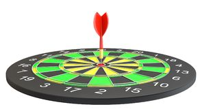 Dartboard with dart arrow hitting the center. 3d illustration Royalty Free Stock Photography