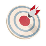 Dartboard with dart in bullseye Royalty Free Stock Image