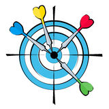 Dartboard and darts. A vector image dartboard  with four arrows in the center Stock Images