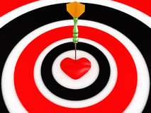 Dartboard with darts and heart. 3D image Stock Photography