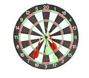 Dartboard with Darts isolated Royalty Free Stock Images