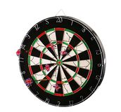 Dartboard with darts isolated on a white background Royalty Free Stock Images