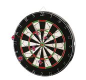 Dartboard with darts isolated on white Royalty Free Stock Photo