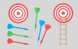 Dartboard and darts. Ladder. Isolated. royalty free stock photos