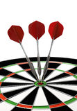 Dartboard and darts. Dartboard with red darts isolated on white Royalty Free Stock Photography