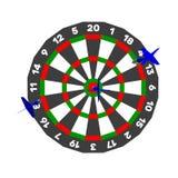 Dartboard en pijltjespijl Geïsoleerdj op witte achtergrond Vector Royalty-vrije Stock Afbeelding