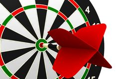 Dartboard and flying Royalty Free Stock Photos