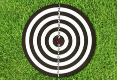 Dartboard on green grass Stock Photo