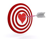 Dartboard with heart at center Stock Images