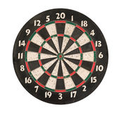 Dartboard isolated, clipping path. Royalty Free Stock Photos