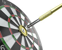 Dartboard with keyhole in center with key on arrow Stock Images