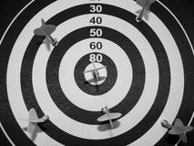 Dartboard with magnetic arrows Royalty Free Stock Photography