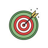 Dartboard met pictogram van de bullseye retro cirkel, succes en doel het bereiken concept royalty-vrije illustratie