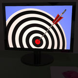 Dartboard On Monitor Shows Excellence Royalty Free Stock Photos