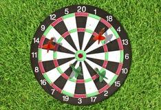 Dartboard na zielonej trawie Zdjęcia Stock