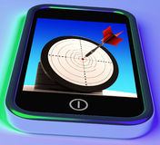 Dartboard On Smartphone Shows Effective Shooting. And Precise Aim Stock Photography